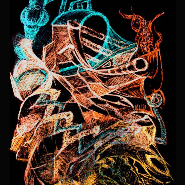 Akord durowy zwiększony atrament na papierze - szkic 2000